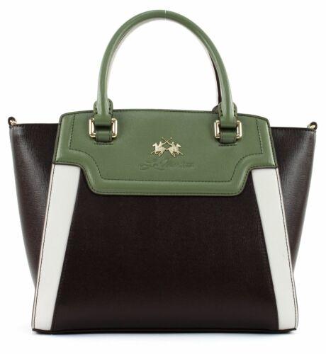 LA MARTINA La Portena Handbag Handtasche Schultertasche Grün Braun Neu