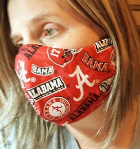Face Mask With Filter Pocket 100 Cotton University Of Alabama Print Ebay