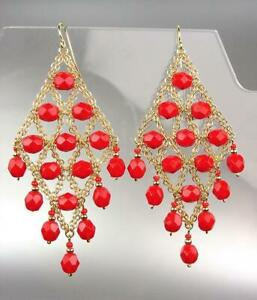 STUNNING-Artisanal-Faceted-Coral-Red-Crystals-Gold-Mesh-Chandelier-Earrings