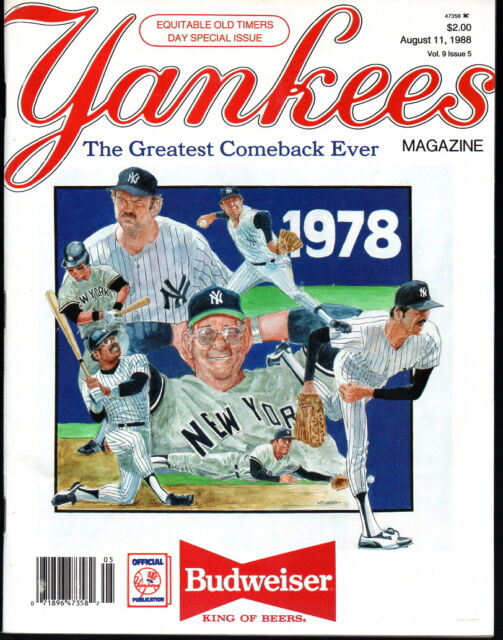 Yankees Magazine August 11, 1988 Old Timers Day 1978 Winfield Mattingly Clark