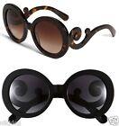Round Designer Swirl Arms Baroque Large Sunglasses Tortoise, Lepoard, or Black
