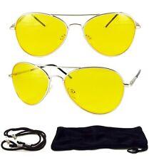 New Yellow Lens UV 400 Silver Sunglasses Night Vision Driving Eyewear Glasses