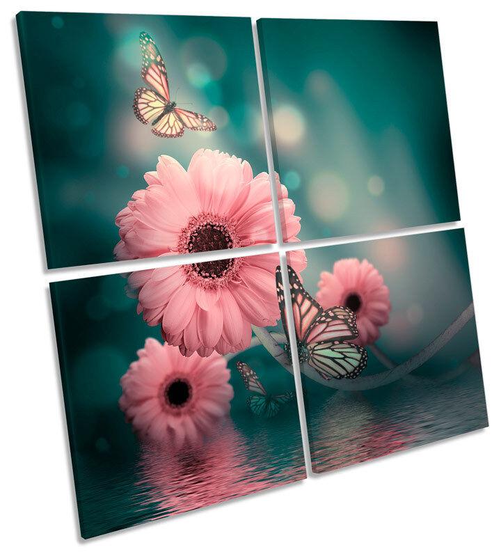 Gerbera Floral FFaibleer papillon MULTI toile WALL ART Square Print