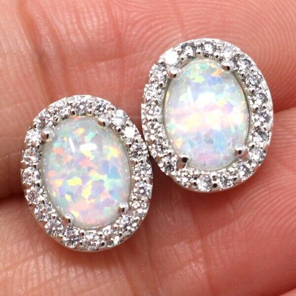 2 Ct White Australian Opal Stud Earrings Women Wedding Engagement Jewelry Gift