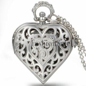 Women-039-s-Silver-Tone-Heart-shaped-Quartz-Pocket-Watch-Necklace-Pendant-Chain-Gift