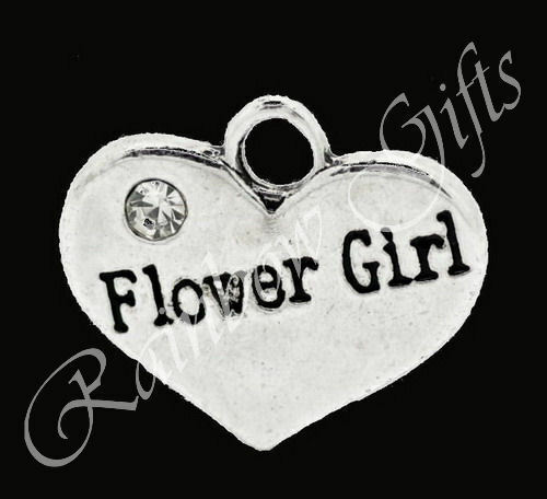 TIBETAN SILVER RHINESTONE FLOWER GIRL #2 WEDDING CHARMS SILVER HEART PENDANT