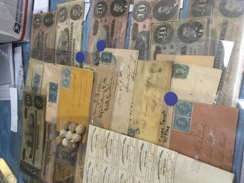 12 ITEMS CIVIL WAR CONFEDERATE//CSA LOT CURRENCY+STAMPS+BOND+BULLETS+COVERS