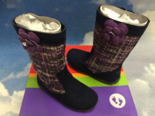 9.5 Stride Rite Girls Mira Navy Textile Fashion Zipper Boots Toddler Size 6