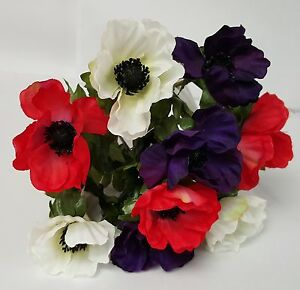 Artificial silk flowers anemone bush red white and purple 9 heads ebay image is loading artificial silk flowers anemone bush red white and mightylinksfo