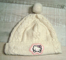VICTORIA CASAL COUTURE 10 12 14  ANS  fille :BONNET ecru maille HELLO KITTY TBE