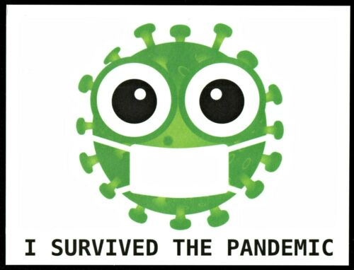 ⫸ 887 I SURVIVED THE PANDEMIC POSTCARD Virus Germ Facial Covering Card Sign