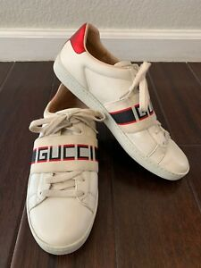 7d54d3a1fcd Image is loading Gucci-Ace-Leather-Logo-Stripe-Sneaker-Womens-8-