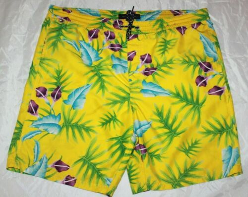 Details about  /Tommy Hilfiger Men/'s sz Medium M Hawaiian Aloha Print Lined Swim Trunks