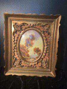 Ornate Italian carved gilt gold frame in frame convex glass signed oil art