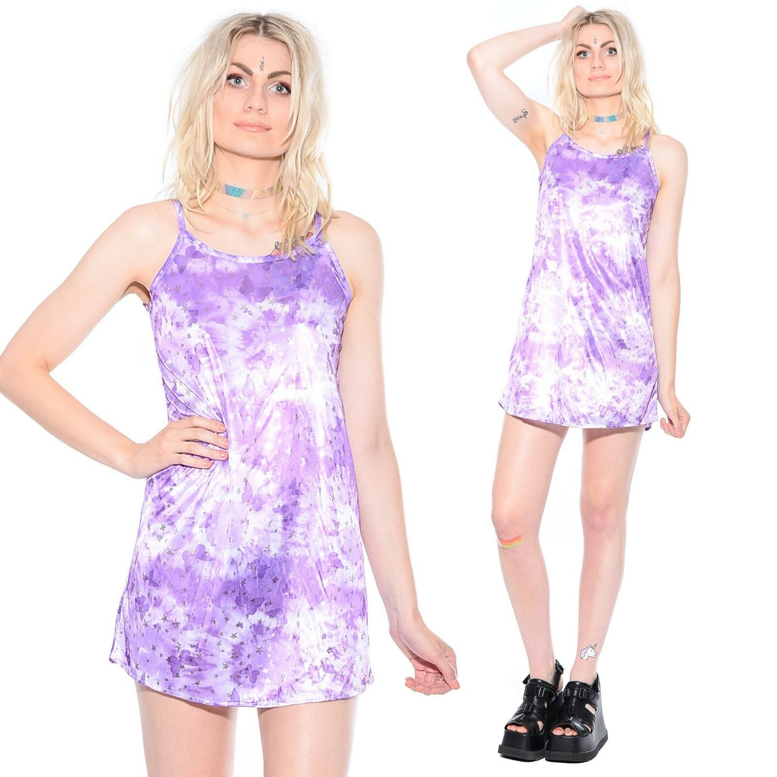 Vtg 90s HOLOGRAPHIC Metallic Butterfly Club-Kid Rave Cyber Shiny Mini Dress S