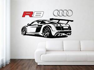 Image is loading Audi-R8-Sport-Racing-Back-Car-Wall-Decal- & Audi R8 Sport Racing Back Car Wall Decal Art Mural Vinyl Sticker | eBay