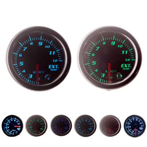 "2/"" 52mm 7 Color LED Car Exhaust Gas Temp Gauge Ext Temp Meter EGT With Sensor"