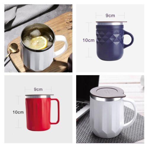 400mlVakuum Becher Kaffeebecher Reisebecher Wasserbecher Doppelwand Vakuumdeckel