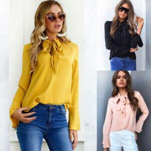 Fashion-Women-039-s-Elegant-Casual-T-Shirt-Loose-Tops-Blouse-Long-Sleeve-Clothing