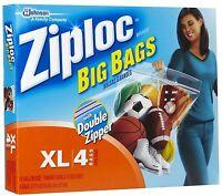 4 Ziploc Big Bags Xl Double Zipper Clothing Bedding Storage Plastic Seal Ziplock