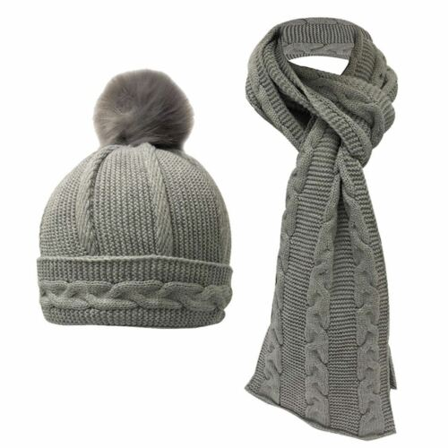 U473 LADIES DESIGNER TOWIE CABLE KNITTED HAT /& SCARF GIFT SET IDEA MOTHERS DAY