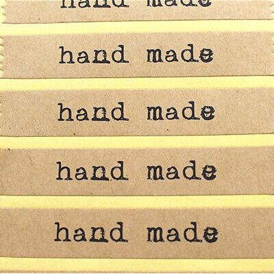 100x Aufkleber Handmade Etikett Sticker Handarbeit Basteln Braun Hand Gemachtes