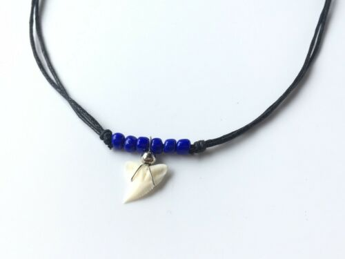 Real Shark Tooth Necklace Men Blue Bead Vintage Beach Sea Free Shipping