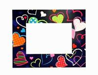 Lot Of 24 Pieces - Colored Hearts Theme Card 5 X 7 Picture Frames With Easel