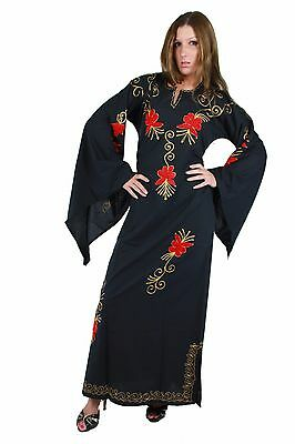 Damen Kaftan Kleid  in 70er Look mit Trompetenärmel