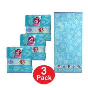 "Towel Bath Beach Pool Cotton 28/""x58/"" Disney Ariel Little Mermaid Age 3 NEW"