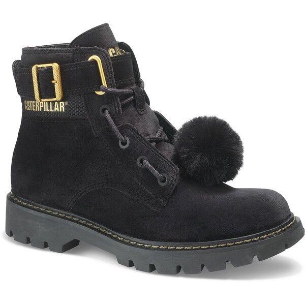 Nuevo Caterpillar Para Mujer conversión de Terciopelo Negro Negro Negro botas Cat, extraíble Pom Pom 0b41ab