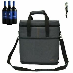 2ba432c81523 Vina 3 Bottle Wine Carrier - Travel Insulated Carrying Case Tote Bag For  Picnic