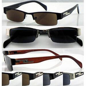 SL413-Men-039-Semi-Rimless-Reading-Sunglasses-Metal-Frame-amp-Plastic-Arms