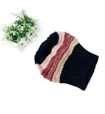 Thick Crochet Knit Striped Baggy Beret Beanie Warm Winter Ski Hat Fashion Cap 60