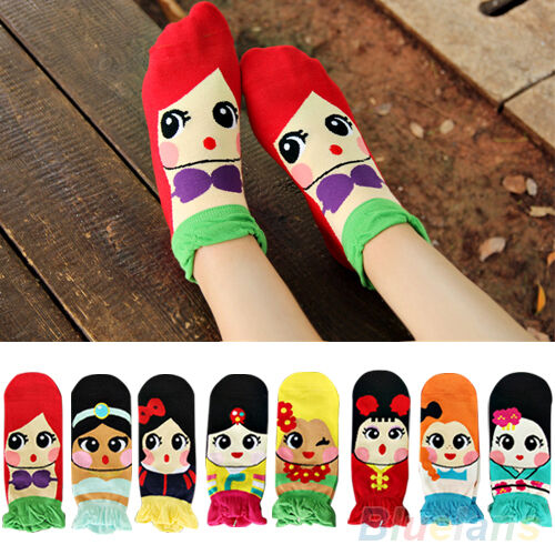 Top Quality! Womens Princess Cute Cartoon Girls Cotton Ankle Socks Low Cut Socks