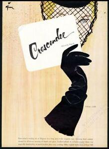 1951 Rene Gruau woman & glove art Crescendoe gloves fashion vintage print ad