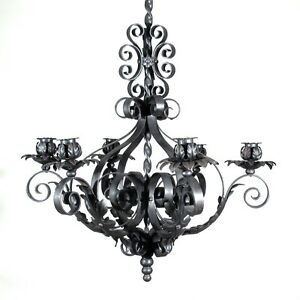 Vintage french wrought iron chandelier six lights mid 20th century image is loading vintage french wrought iron chandelier six lights mid mozeypictures Choice Image