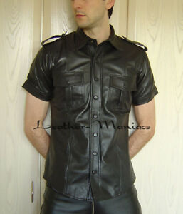 Uniforme pelle tasche in in Camicia Camicia Cuir petto pelle con in Camicia in pelle pelle al BEn1wF6q