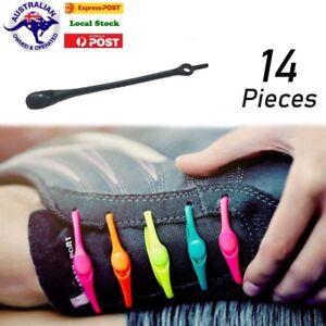14 /28 Shoelaces No Tie Elastic Silicone Loop N Lock Runner Shoe Laces black
