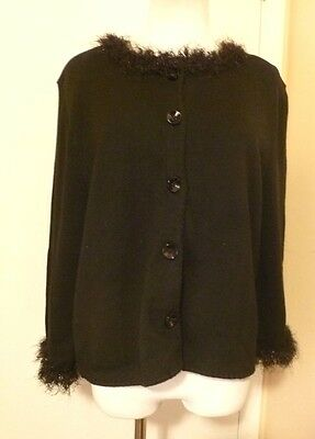 NWT MICHAEL SIMON Black Button Up Fuzzy Glitter Trim 3/4 Sleeve Sweater Size M