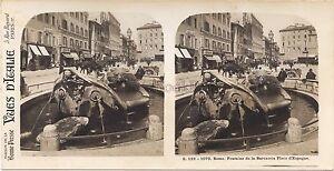 Roma Fontana Da La Barcaccia Italia Stereo Vintage Analogica Ca 1930