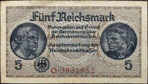 Nazi-Germany-banknote-5-funf-reichsmark-year-1938-1945-Third-Reich