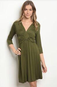 Nuevo Con Etiquetas Para Mujer Vestido Verde Oliva Grande