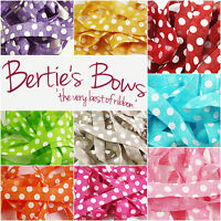 Bertie's Bows Faux Burlap 25mm Polka dot Ribbon - 9 Colours - 1m & 2m