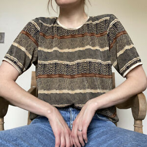 Vintage 90s animal Print plisse tshirt One Size Stripes Spots Retro Top Blouse