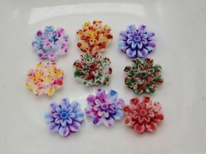 100-Multi-Color-Flatback-Resin-Daisy-Flower-Cabochons-10mm-Embellishments