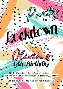 DIGITAL/VIRTUAL PARTY INVITATIONS, PARTY IN LOCKDOWN, ZOOM PARTY, 80'S RETRO