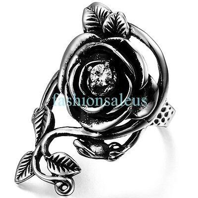 Vintage Glory Rose Vine Stainless Steel Women's Wedding Ring Promise Love Band