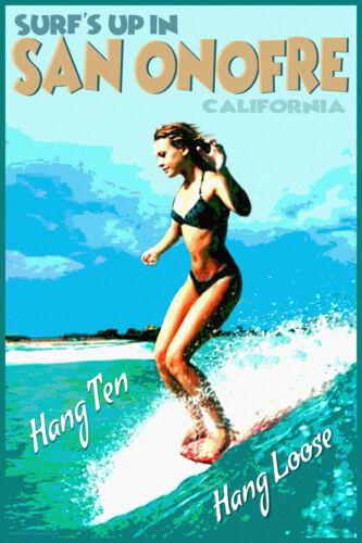 San Onofre California Surfing Poster  Hang Ten Longboard  Original Art Print 339