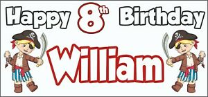 Boy-Pirate-8th-Birthday-Banner-x-2-Party-Decorations-Personalised-ANY-NAME